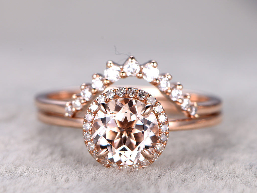 Morganite engagement ring set 7mm round cut natural gemstone curved diamond matching band solid 14k rose gold