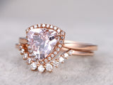 Morganite ring set 1.65ct trillion cut morganite engagement ring half eternity diamond matching band 14k rose gold