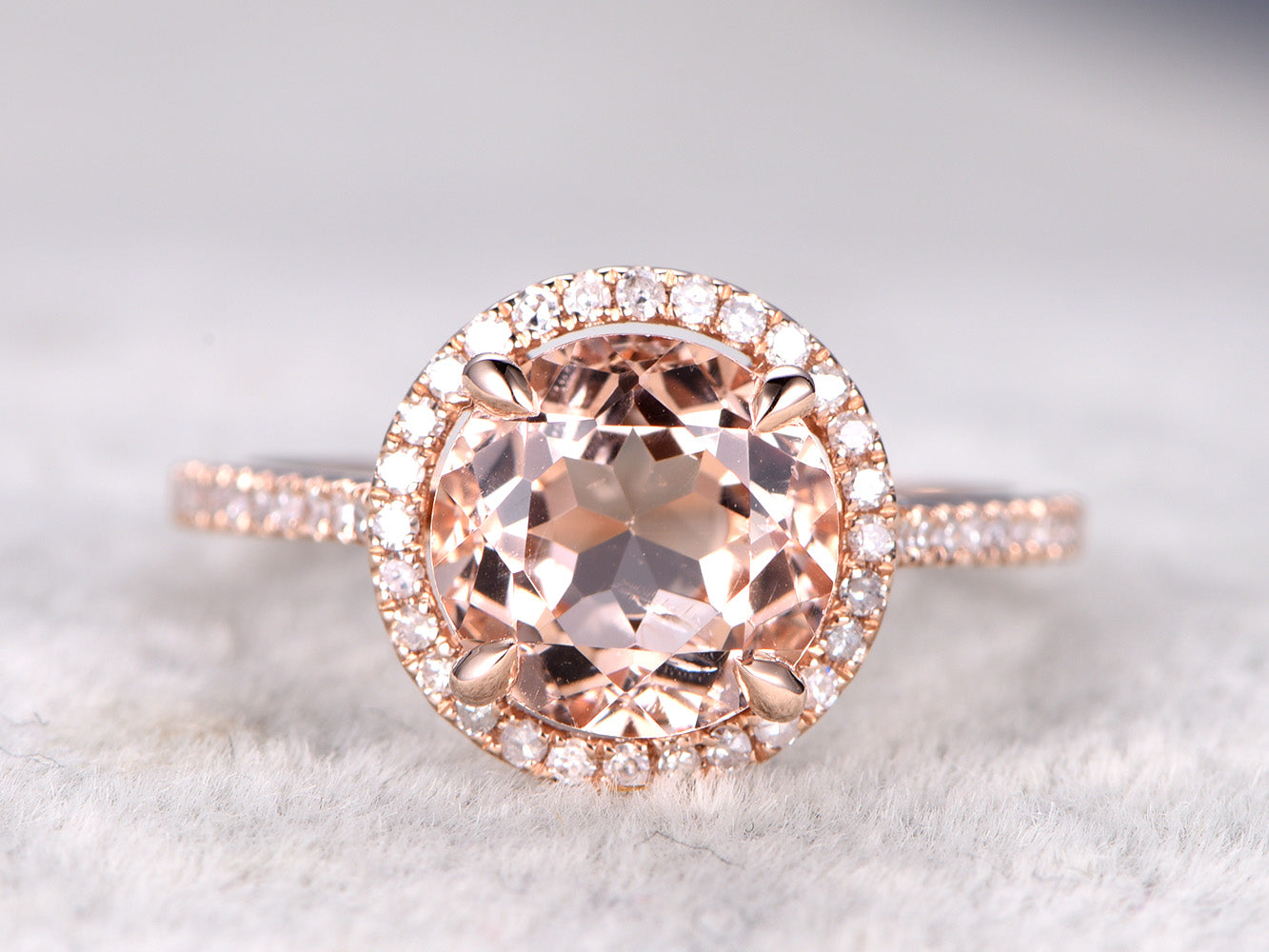 Morganite engagement ring 9mm round cut morganite rose gold diamond wedding band solid 14k/18k
