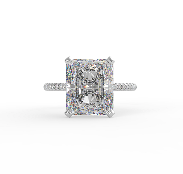 Custom order for Andrew Krizowsky:14K White Gold, with a Radiant Cut 3.00ct 7 x 9mm Moissanite.  US6 size ring.CAD Design
