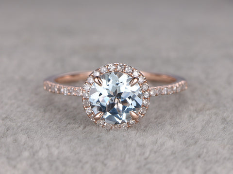 Round 7mm Aquamarine Engagement ring,Diamond wedding band,14K Rose Gold,Blue Gemstone Promise Ring,Bridal Ring,Claw Prongs,Halo,anniversary