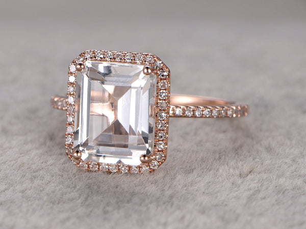 4ct Big White Topaz Engagement ring,Diamond wedding ring,14K Rose Gold Band,10x8mm Emerald Cut Stone Promise Ring,Bridal Ring,Halo Design,