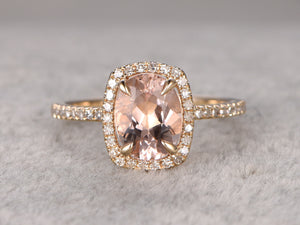 7x9mm Morganite Engagement ring yellow gold,Diamond wedding band,14k,Oval Cut,Gemstone Promise Bridal Ring,Claw Prongs,Cushion Halo Pave Set