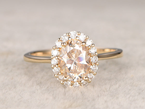 6x8mm Oval Moissanite Engagement ring! 14k yellow gold,Solitaire,Plain gold wedding band,1.5ctw Gemstone Promise Ring,Floral Halo