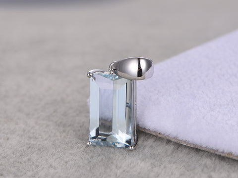 4.5ctw Natural Aquamarine Pendant!14k White gold,Emerald cut,Blue Stone Gemstone Promise,wedding,Prong,plain gold