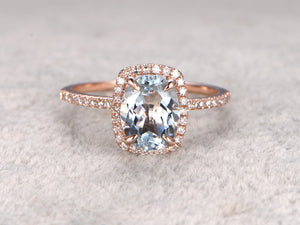 Oval 6x8mm Aquamarine Engagement ring,Diamond wedding band,14K Rose Gold,Blue Gemstone Promise Ring,Bridal Ring,Claw Prongs,Cushion Halo
