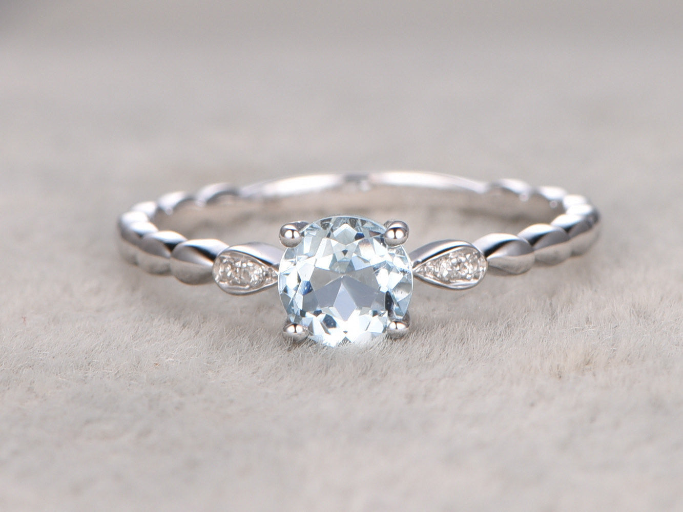 6mm 0.55ctw Round Aquamarine Engagement ring,SI Diamond wedding band,Gemstone Promise Ring,Bridal Ring,VVS Blue Aquamarine