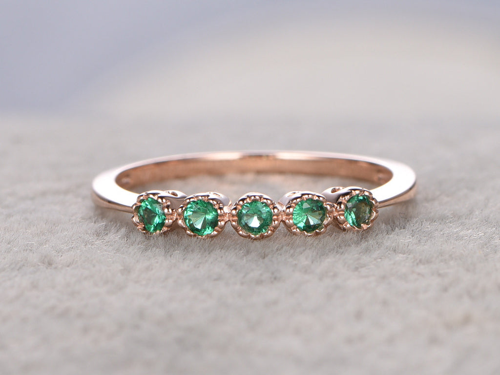 Natural Emerald Wedding Ring,0.17ct,Solid 14K Rose gold,Anniversary Ring,Athena wreath,stacking,milgrain,Matching band