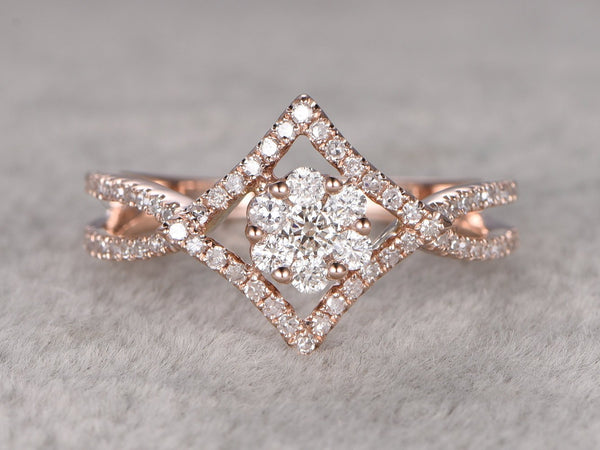Custom order for special customer: 2pcs V shape matching band to fit this engagement ring in size 5.75,14k rose gold