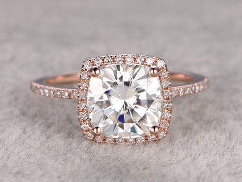 7.5mm Cushion brilliant Moissanite Engagement ring Rose gold,Diamond wedding band,2ct stone Promise Bridal Ring,Halo prong,Anniversary ring