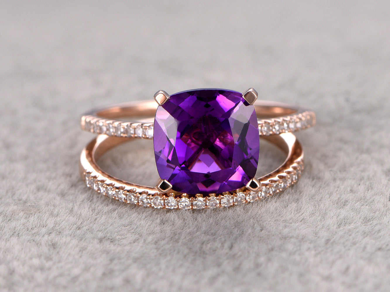 8x8mm Cushion Purple Amethyst Engagement ring,Diamond wedding band,14K Rose Gold,Promise Ring,Bridal Ring,Birthstone Stacking Ring