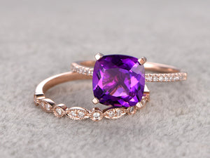 2pcs 8x8mm Cushion Purple Amethyst Engagement ring set,Diamond wedding band,14K Rose Gold,Promise Ring,Bridal Ring,Birthstone Stacking Ring