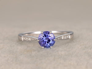 7mm Round 3A Tanzanite Engagement ring,Solitaire wedding band,14K White Gold,Gemstone Promise Bridal Ring,Blue Stone ring,6-Prongs set