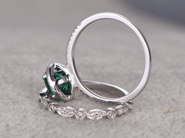 2pcs 7mm Green Emerald Engagement ring White gold,Diamond wedding band,14k,Round Cut,Gemstone Promise Bridal Ring,Halo,Anniversary