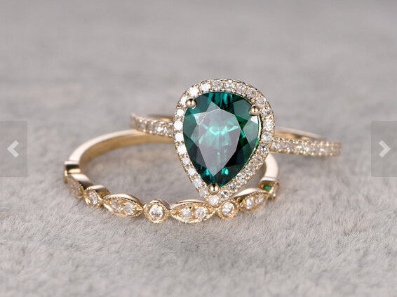 Payment plan for special customer:Size 8 ,2pc Emerald Ring Set,14k Yellow gold,Diamond wedding band,6x8mm Pear Cut,Green Treated Emerald
