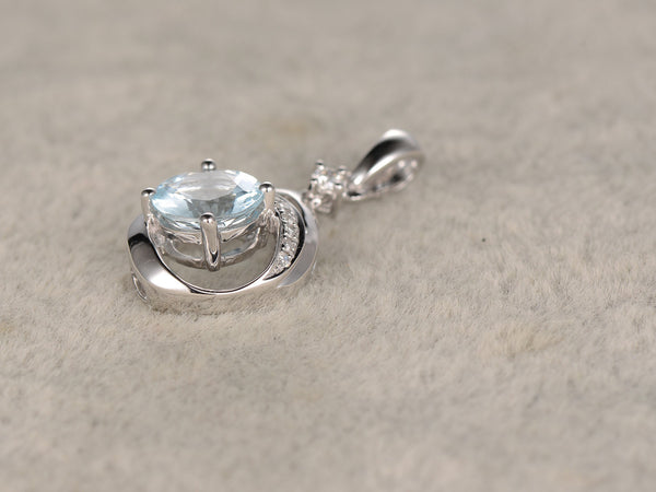 Natural Aquamarine Diamond Pendant!14k White gold,Round cut,no chain