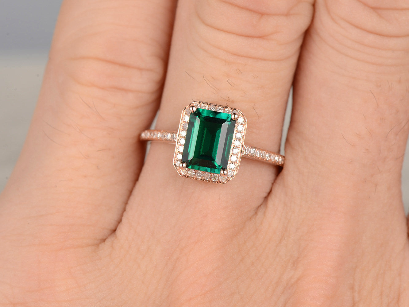 6x8mm Emerald Engagement ring Rose gold,Diamond wedding band,14k,Emerald Cut Treated,Green Gemstone Promise Ring,Bridal,Halo pave set