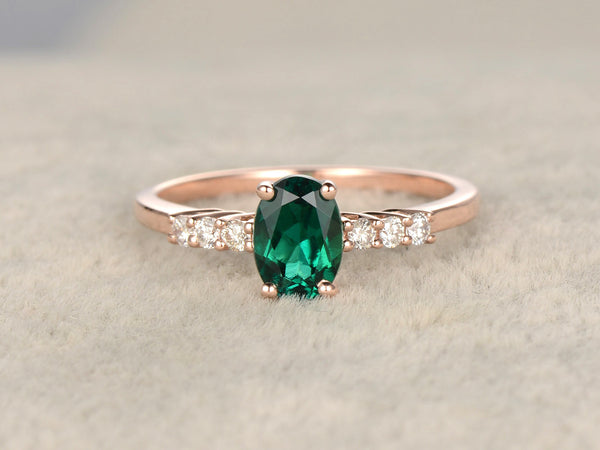 6x8mm Oval Cut Treated Emerald ring,Diamond wedding band,14K Rose Gold,Gemstone Promise Bridal Ring,Vivid Green,Propose ring
