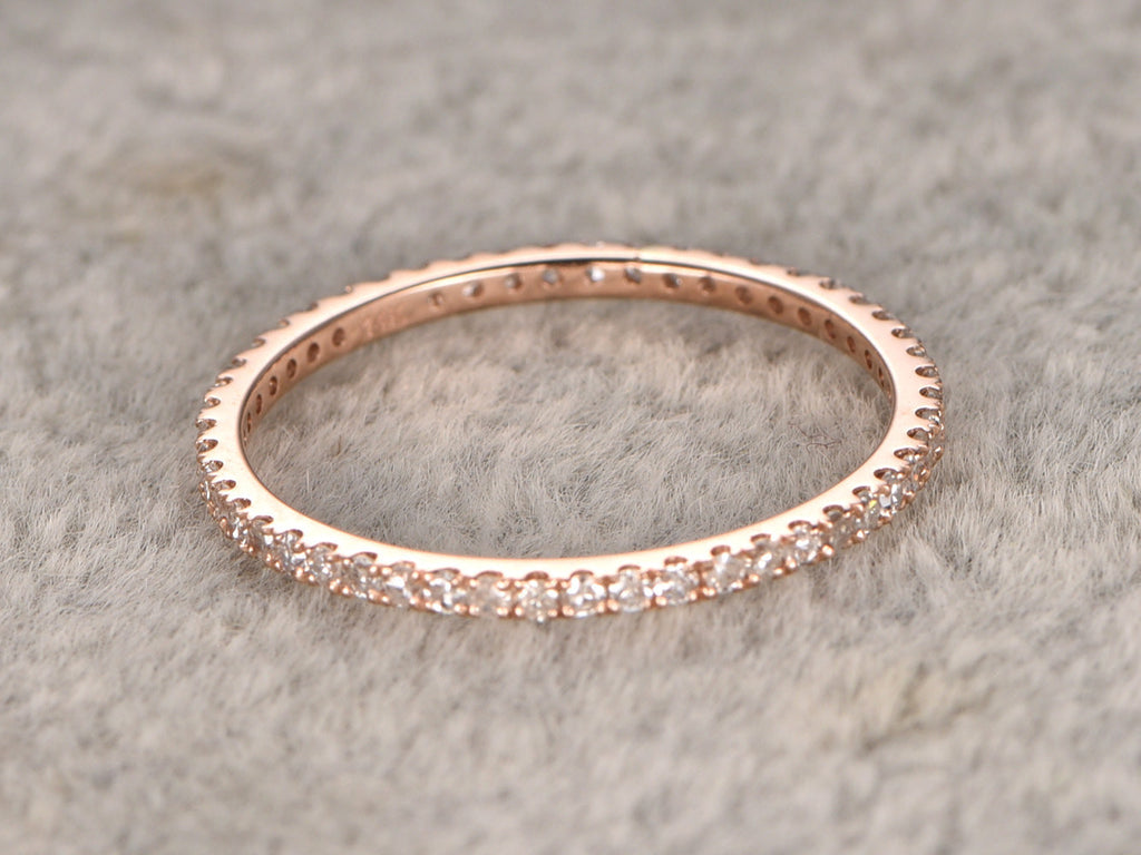 Full Eternity Band,Diamond Wedding Ring,Solid 14K Rose gold,Anniversary Ring,stackable ring,milgrain,Matching band,Micro pave,Thin design