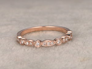 Natural Diamonds,Half Eternity Wedding Ring,Solid 14K Rose gold,Anniversary Ring,Art deco style,stackable ring,milgrain,Matching band,Unique