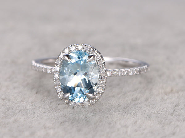 Natural Blue Aquamarine Ring! Engagement ring White gold with Diamond,Bridal ring,14k,6x8mm Oval Cut,Blue Stone Gemstone Promise Ring,Halo