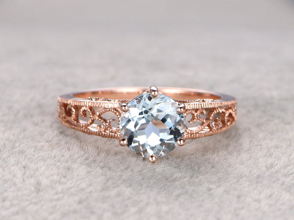 Aquamarine Engagement ring,filigree band,14K Gold,1.8ctw Round Gemstone Promise Ring