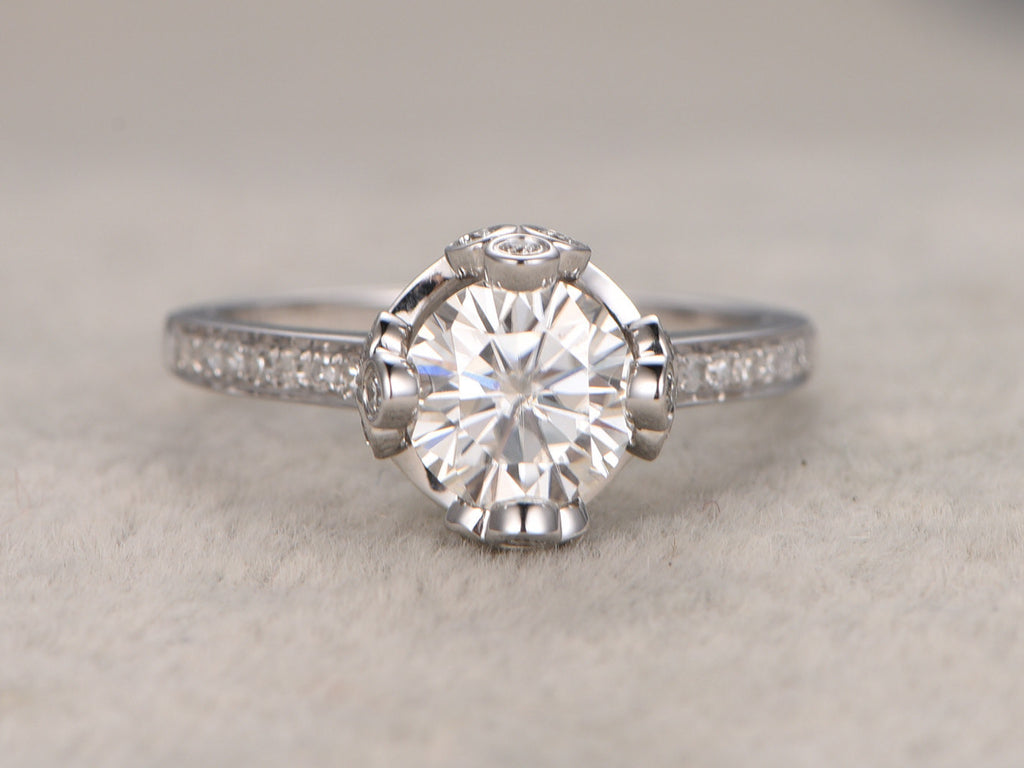 1.5ct Moissanite Engagement ring,14k White gold,Diamond wedding band,Round cut,Royal Crown Ring