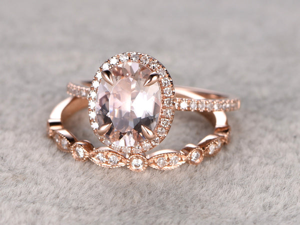 2pc 7x9mm Morganite Engagement ring set Rose  gold,Diamond wedding band,14k,Gemstone Promise Bridal Ring,Halo Half Eternity,Art deco antique
