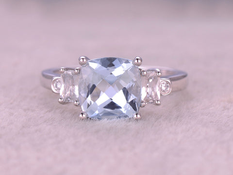 8mm Cushion Cut Aquamarine Engagement ring,2 Baguette White Topaz,2 Bezel VS diamond,14K White Gold,Promise Bridal Ring,IF Blue,plain gold