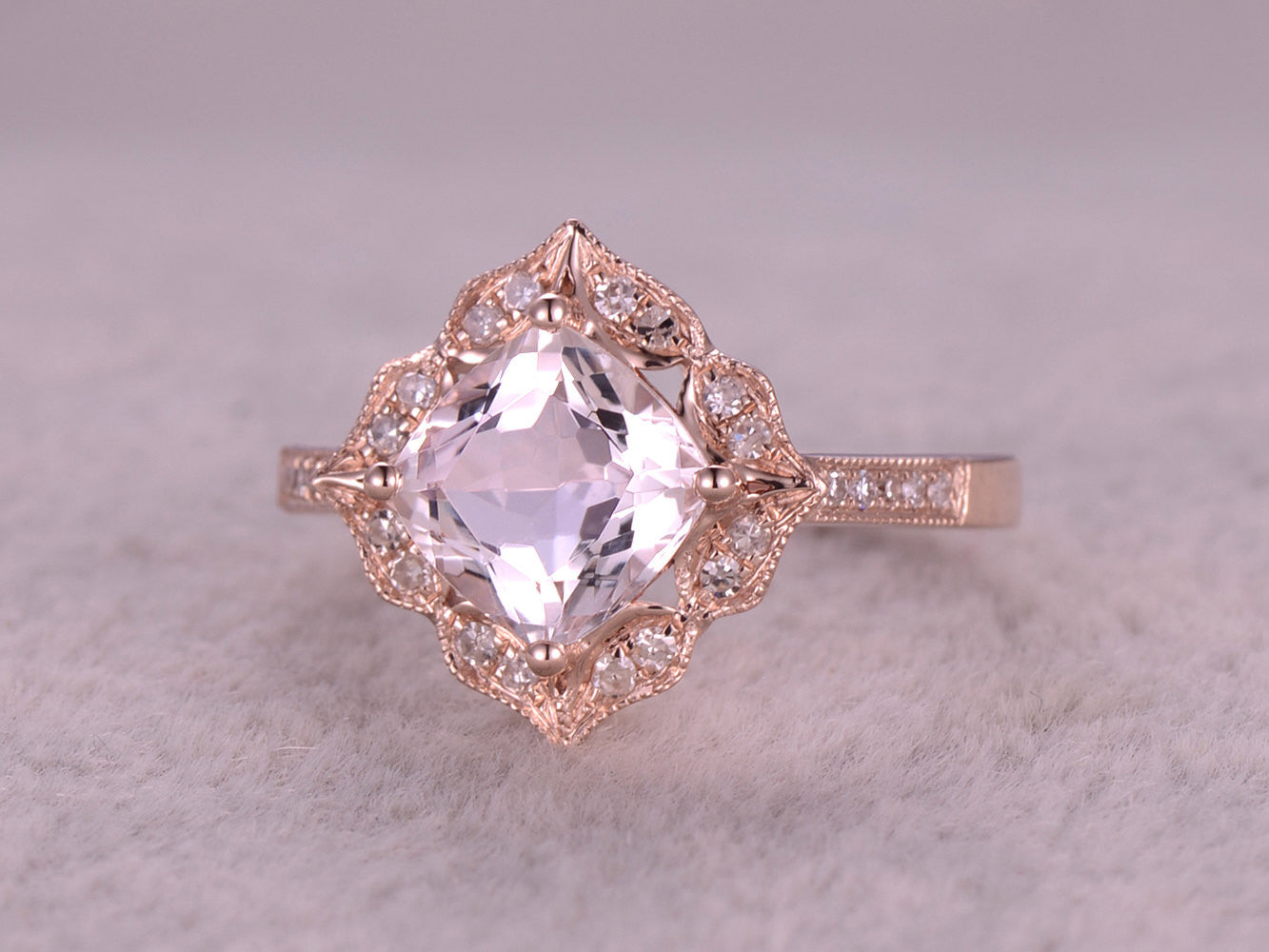 8mm Cushion Morganite Engagement ring Rose gold,Diamond wedding band,Promise Ring,Bridal Ring,Milgrain,Unique underneath,Custom made setting