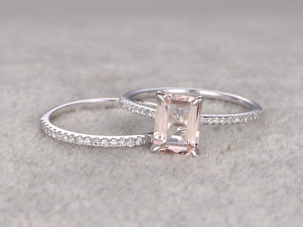 2pc 6x8mm Morganite Engagement ring set, White gold,Diamond wedding band,14k,Emerald Cut,Gemstone Promise Bridal Ring,Claw Prongs,Pave Set