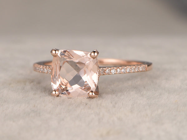 7mm Cushion Morganite Engagement ring,14k Rose gold,Diamond wedding band,Gemstone Promise Ring,Bridal Ring,Thin band,Stacking,ball prongs