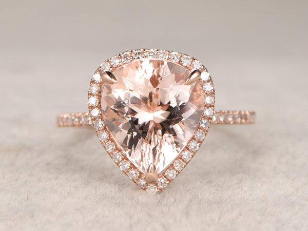 3.50ct Pear Cut Morganite Engagement ring Rose gold,Diamond wedding band,14k,Pear Shaped,Gemstone Promise Bridal Ring,Halo,Prongs,Pave Set