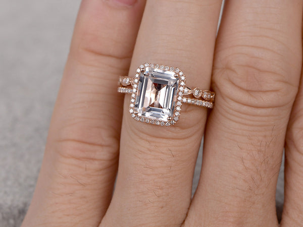 2pc 4ct Big White Topaz Engagement ring set,Diamond wedding ring,14K Rose Gold,10x8mm Emerald Cut Stone Promise Ring,Bridal Ring,Halo Design
