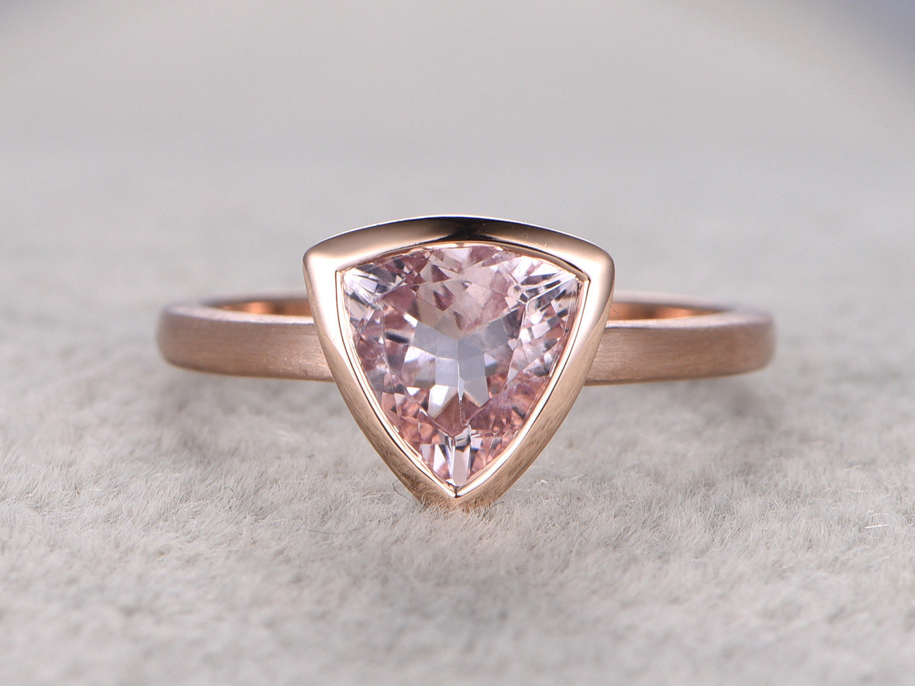 9x9mm Morganite Solitaire Engagement ring, 14k Rose gold,Plain gold wedding band,Trillion Cut,Promise Bridal Ring,Bezel,unique design