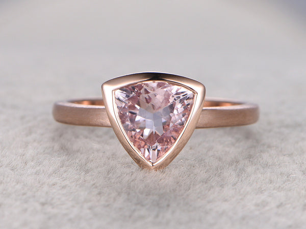 9x9mm Morganite Solitaire Engagement Ring 14k Rose Gold Plain Gold
