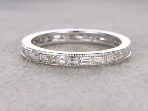 2.2ct Baguette Diamond Wedding Band,Solid 14K White gold,Anniversary Ring,Engagement stacking ring,Channel Set,Natural Diamond,Eternity