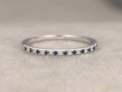 Thin design,Blue Sapphires Diamond Wedding Ring,14K White gold,Half Eternity Band,stackable ring,milgrain,Matching band,Micro pave