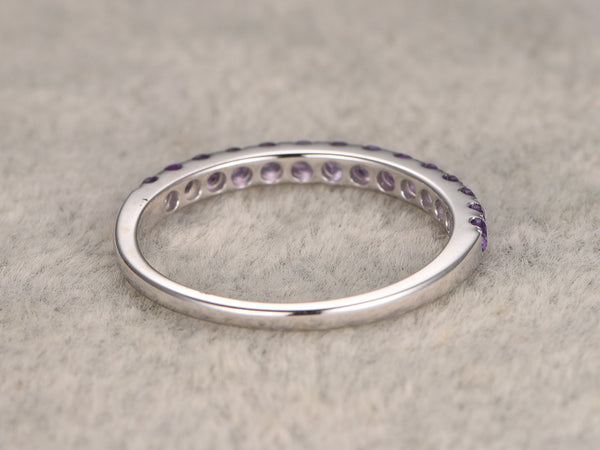 Half eternity Amethyst Wedding Band,Solid 14K White gold,Anniversary Ring,Engagement stacking ring,Prong Set,Purple gem stone,can engrave