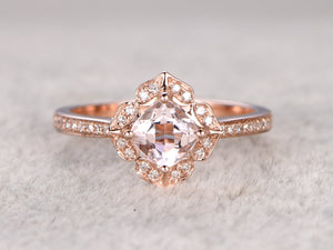 6mm Cushion Morganite Engagement ring Rose gold,Diamond wedding band,Promise Ring,Bridal Ring,Milgrain,Unique underneath,Custom made setting
