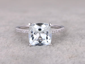3.01ctw Aquamarine Engagement ring,Diamond wedding band,14K white Gold,Gemstone Promise Ring,Bridal Ring,IF Blue Aquamarine,Fashion Pave Set