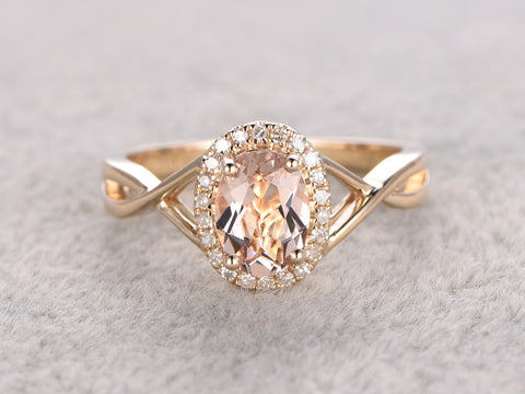 6x8mm Oval Morganite Engagement ring Yellow gold,Diamond wedding band,14k,Gemstone Promise Ring,Bridal Ring,Curved loop,Custom made setting