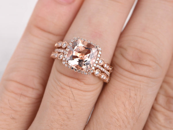 3pc 9mm Morganite Engagement ring set,Rose gold,Art deco Diamond wedding band,14k,Cushion Cut,Promise Bridal Ring,8 ball Prongs,Pave Set