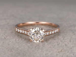 1ct brilliant Moissanite Engagement ring Rose gold,Moissanite wedding band,14k,6.5mm Round,Gemstone Promise Bridal Ring,4-prong,Anniversary