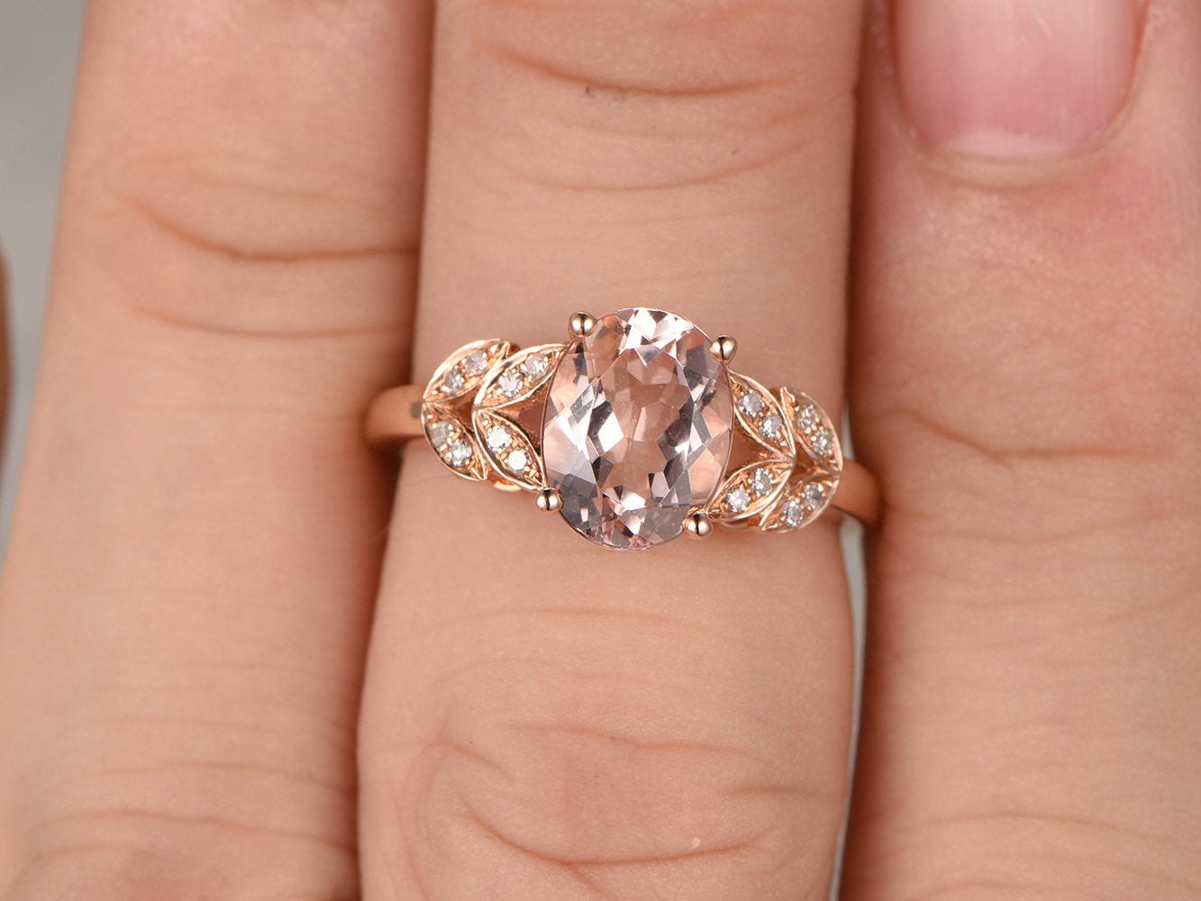 6x8mm VVS Oval Morganite Solitaire Engagement ring,14k Plain Rose gold,wedding band,Leaf,Gemstone Promise Bridal Ring,Prongs