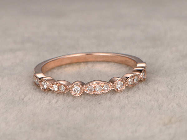Natural Diamonds,Half Eternity Wedding Ring,Solid 14K Rose gold,Anniversary Ring,Art deco Marquise style,stacking,milgrain,Matching band