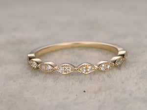 Natural White Sapphire,Half Eternity Wedding Ring,14K Yellow gold,Anniversary Ring,Art deco Marquise style,stacking,milgrain,Matching band