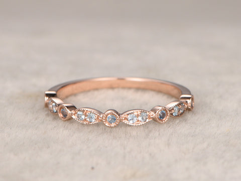 Natural Blue Topazes,Half Eternity Wedding Ring,Solid 14K Rose gold,Anniversary Ring,Art deco Marquise style,stacking,milgrain,Matching band
