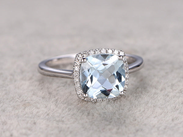 2.35ctw Cushion Aquamarine Engagement ring,Diamond wedding band,14K White Gold,Gemstone Promise Bridal Ring,IF Blue,Propose ring,Halo Pave