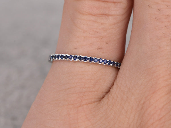 Natural Blue Sapphire Wedding Ring,Solid 14K White gold,Anniversary Ring,Eternity Band,stackable ring,engagement ring,Matching band,Pave Set